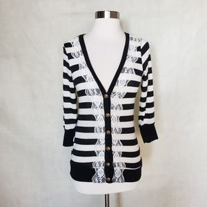 MODCLOTH lace trimmed striped cardigan